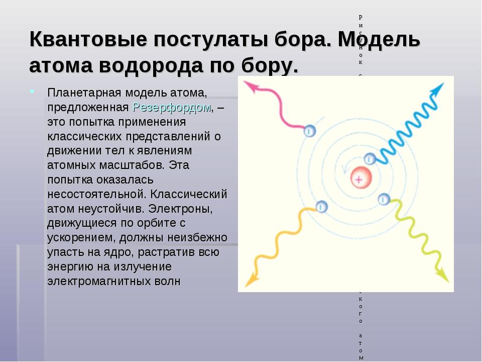 Квантовые постулаты бора. Модель атома водорода по бору. Планетарная модель а...