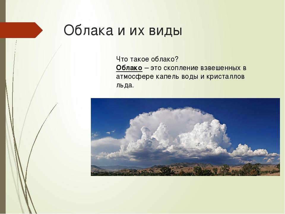 Облака и их виды Что такое облако? Облако – это скопление взвешенных в атмосф...