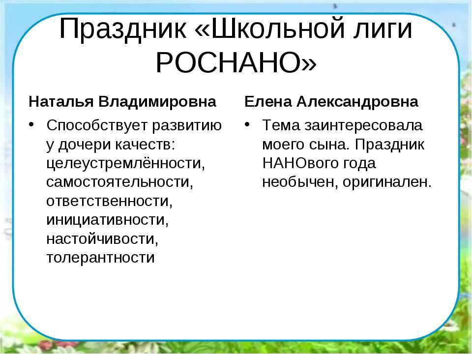 Праздник «Школьной лиги РОСНАНО» Наталья Владимировна Способствует развитию у...