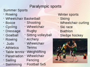Summer Sports Rowing Wheelchair Basketball Bocce Cycling Dressage Goalball Ro