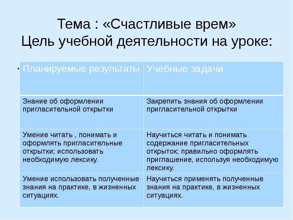 Тема : «Счастливые врем» Цель учебной деятельности на уроке: Планируемые резу...