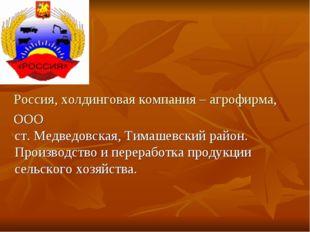 Россия, холдинговая компания – агрофирма, ООО ст. Медведовская, Тимашевский
