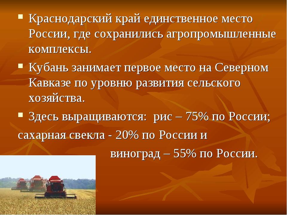 Краснодарский край единственное место России, где сохранились агропромышленны...