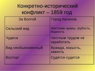 Конкретно-исторический конфликт – 1859 год