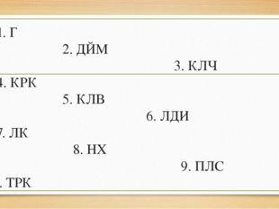 1. Г 2. ДЙМ 3. КЛЧ 4. КРК 5. КЛВ 6. ЛДИ 7. ЛК 8. НХ 9. ПЛС 10. ТРК