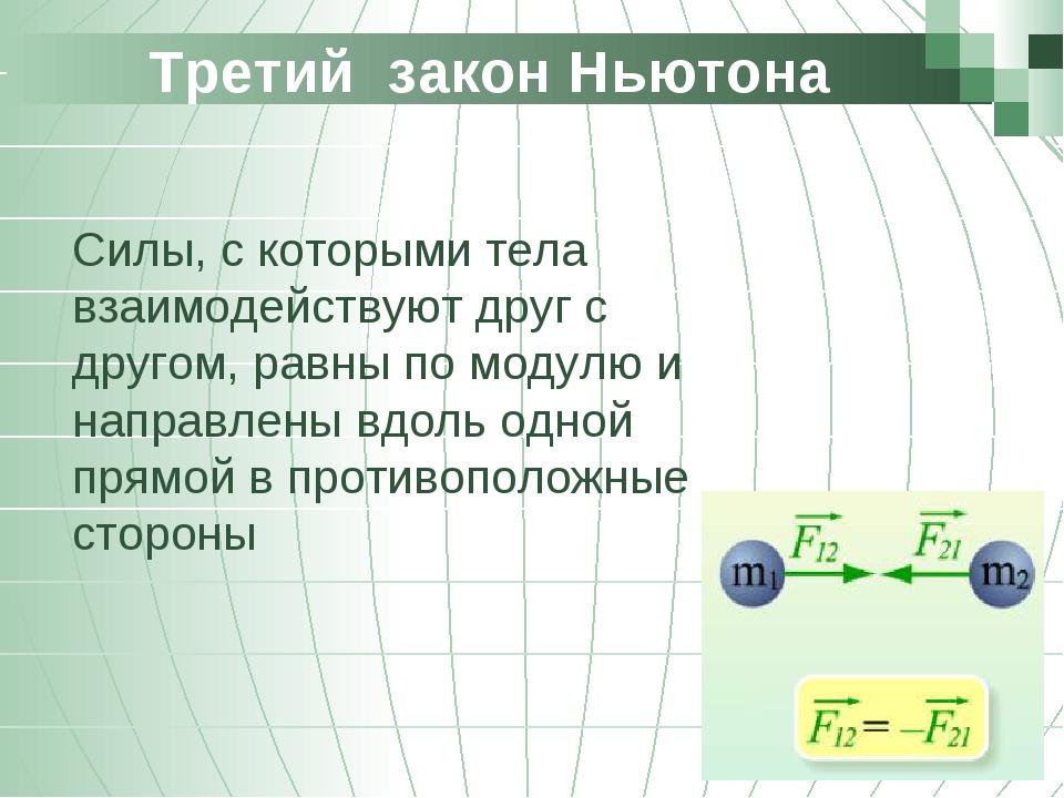Третий закон Ньютона Силы, с которыми тела взаимодействуют друг с другом, ра...