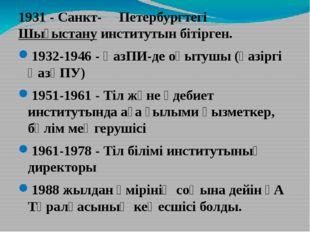 1931- Санкт- Петербургтегі Шығыстануинститутын бітірген. 1932-1946- ҚазПИ