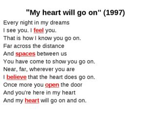 """My heart will go on"" (1997) Every night in my dreams I see you. I feel you."