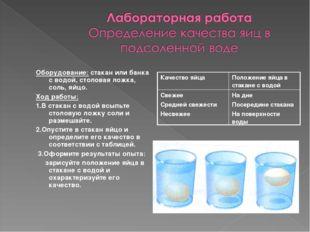 Оборудование: стакан или банка с водой, столовая ложка, соль, яйцо. Ход работ