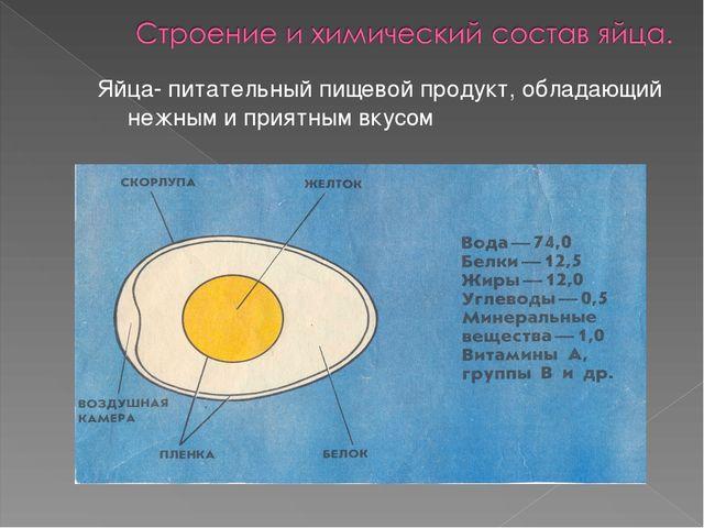 Яйца- питательный пищевой продукт, обладающий нежным и приятным вкусом