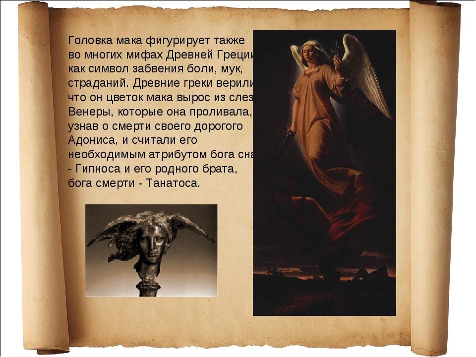 Головка мака фигурирует также во многих мифах Древней Греции как символ забве...