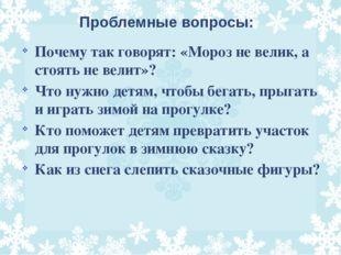 Проблемные вопросы: Почему так говорят: «Мороз не велик, а стоять не велит»?