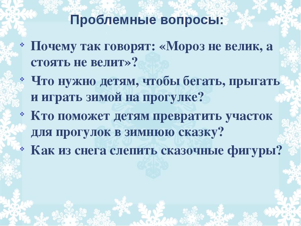 Проблемные вопросы: Почему так говорят: «Мороз не велик, а стоять не велит»?...
