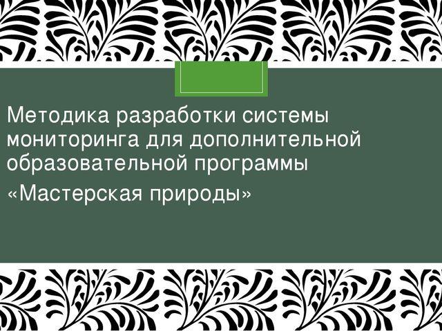 Методика разработки системы мониторинга для дополнительной образовательной пр...