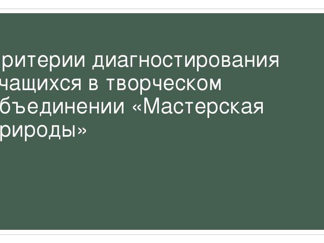 Критерии диагностирования учащихся в творческом объединении «Мастерская прир...
