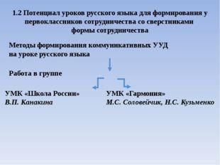 1.2 Потенциал уроков русского языка для формирования у первоклассников сотруд