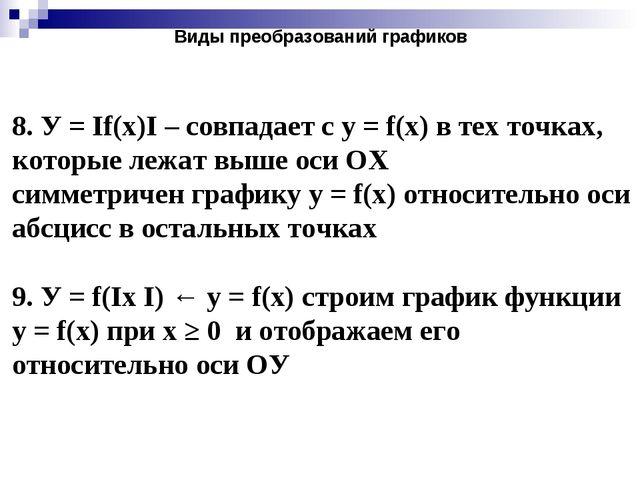 8. У = If(x)I – совпадает с у = f(x) в тех точках, которые лежат выше оси ОХ...