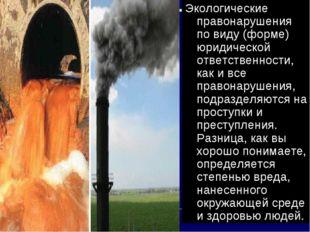 Экологические правонарушения по виду (форме) юридической ответственности, как