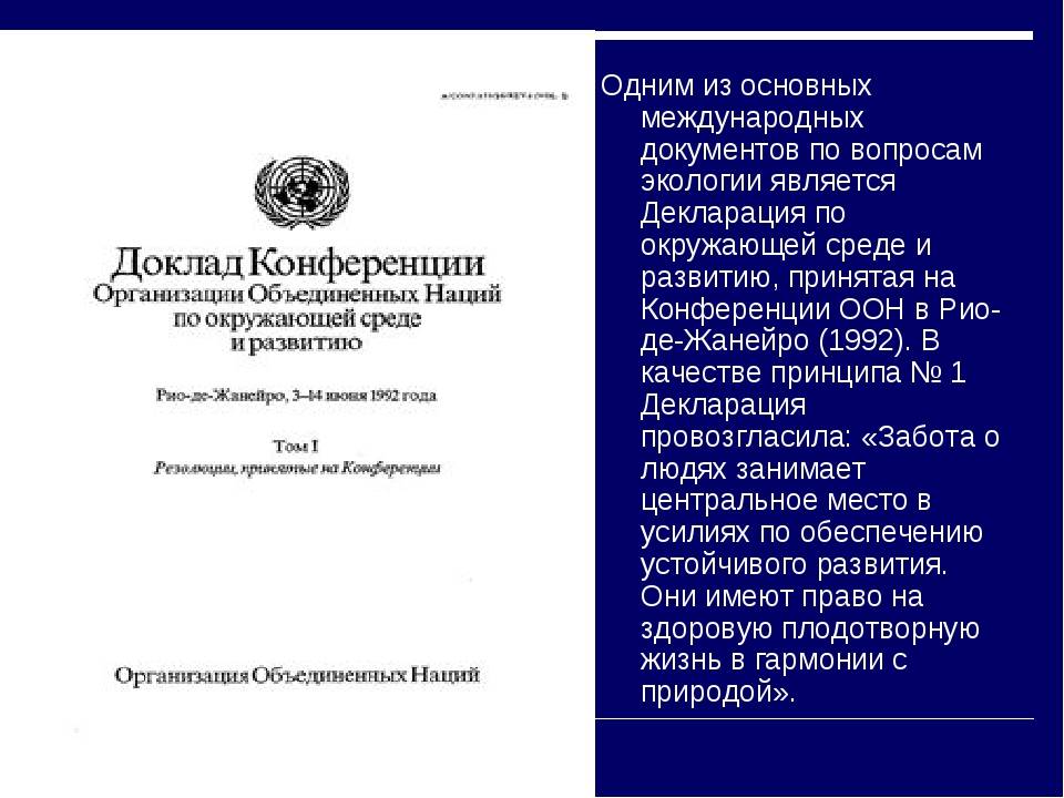 Одним из основных международных документов по вопросам экологии является Декл...
