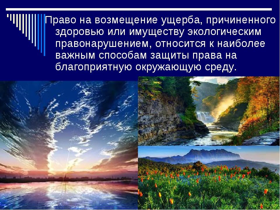 Право на возмещение ущерба, причиненного здоровью или имуществу экологическим...
