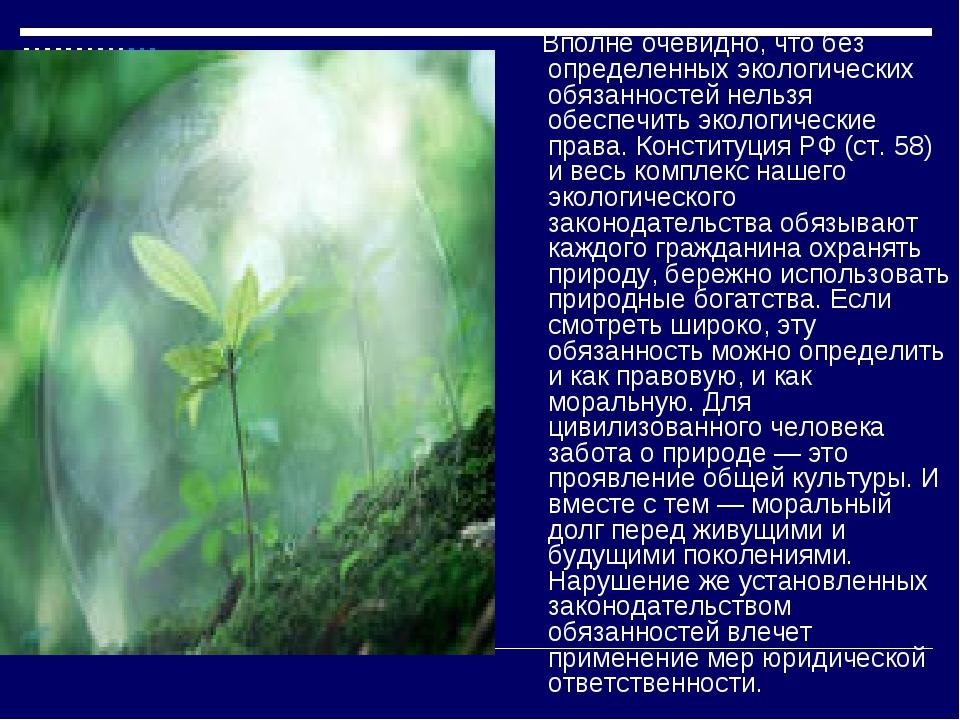 Вполне очевидно, что без определенных экологических обязанностей нельзя обес...