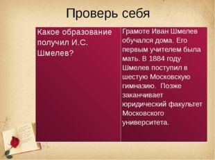 Проверь себя Какое образование получил И.С. Шмелев? Грамоте Иван Шмелев обуча