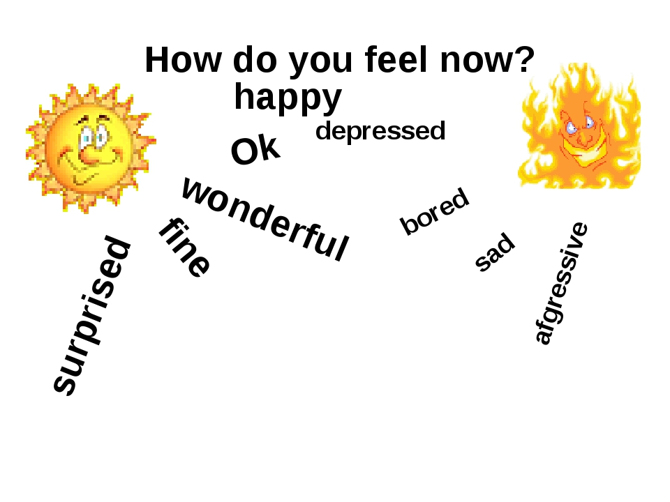 How do you feel now? wonderful fine Ok surprised happy bored afgressive sad d...