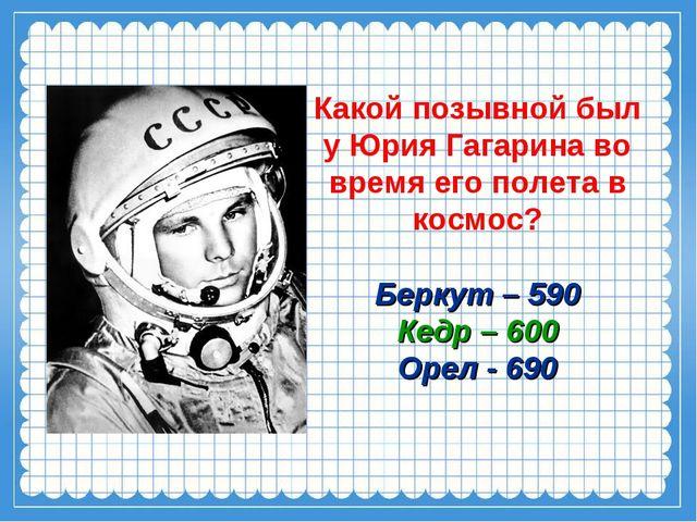 Какой позывной был у Юрия Гагарина во время его полета в космос? Беркут – 590...