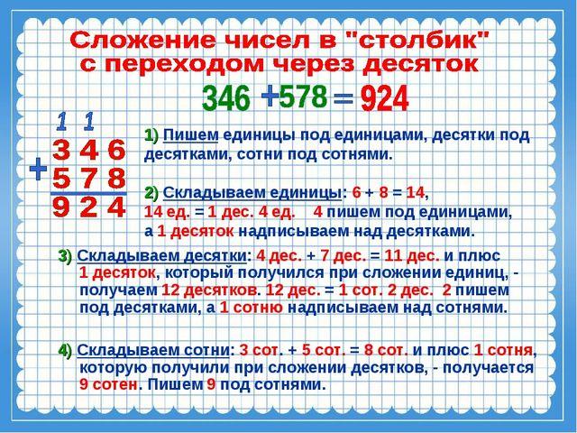 1) Пишем единицы под единицами, десятки под десятками, сотни под сотнями. 2)...