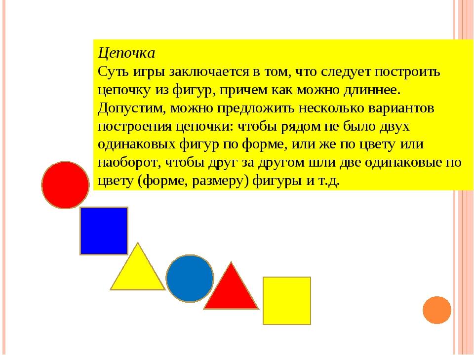 Цепочка Суть игры заключается в том, что следует построить цепочку из фигур,...
