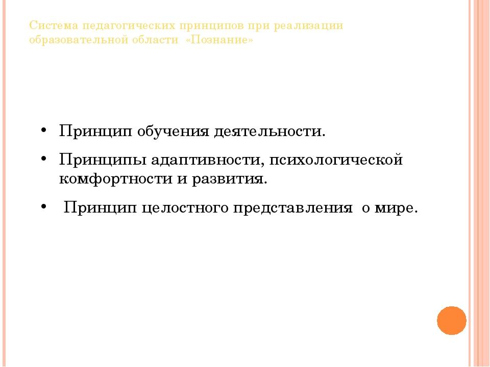 Система педагогических принципов при реализации образовательной области «Позн...