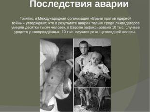 Последствия аварии Гринписи Международная организация «Врачи против ядерной