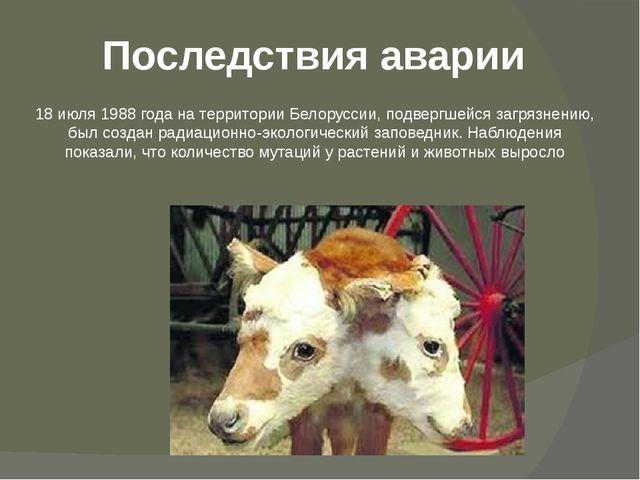 Последствия аварии 18 июля1988 года на территории Белоруссии, подвергшейся з...