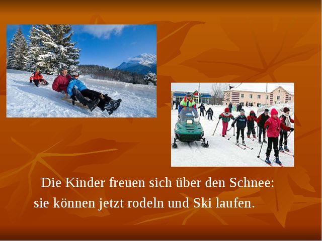 Die Kinder freuen sich über den Schnee: sie können jetzt rodeln und Ski lauf...