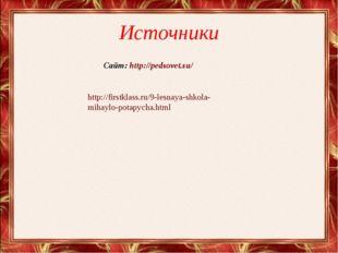 Источники http://firstklass.ru/9-lesnaya-shkola- mihaylo-potapycha.html Сайт: