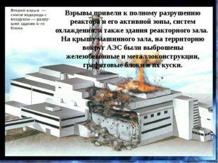 Взрывы привели к полному разрушению реактора и его активной зоны, систем охла
