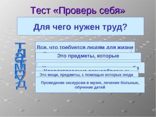 Тест «Проверь себя» Что такое потребности людей? Все, что требуется людям для