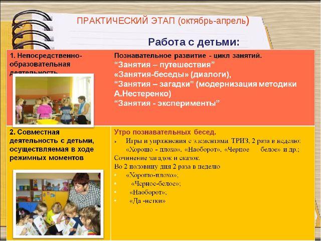 Работа с детьми: ПРАКТИЧЕСКИЙ ЭТАП (октябрь-апрель)