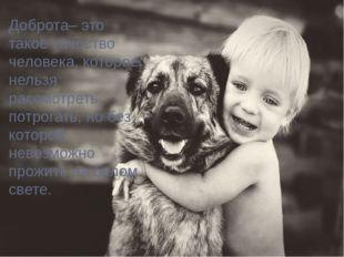 Доброта– это такое качество человека, которое нельзя рассмотреть, потрогать,