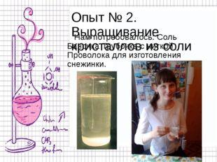 Опыт № 2. Выращивание кристаллов из соли Нам потребовалось: Соль Баночка Труб