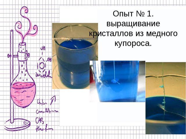 Опыт № 1. выращивание кристаллов из медного купороса.