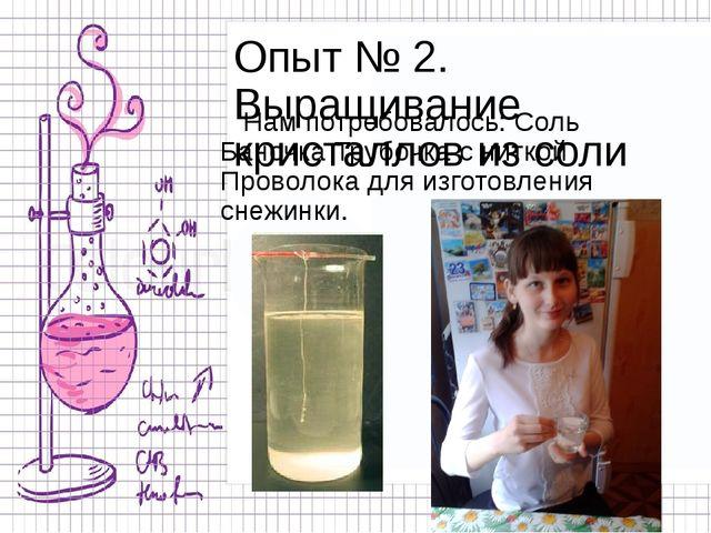Опыт № 2. Выращивание кристаллов из соли Нам потребовалось: Соль Баночка Труб...