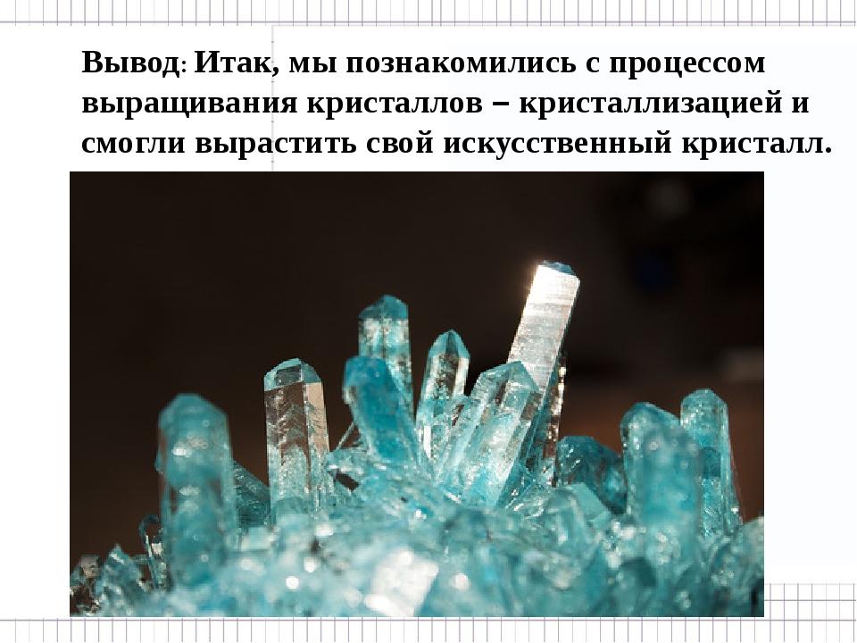 Вывод: Итак, мы познакомились с процессом выращивания кристаллов – кристалли...