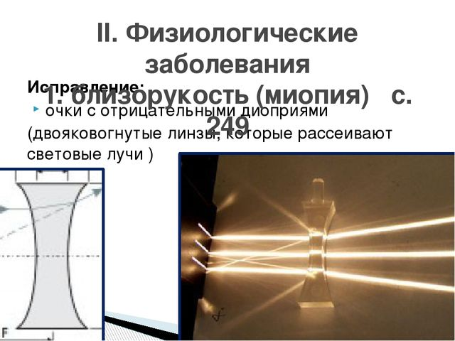 Исправление: очки с отрицательными диоприями (двояковогнутые линзы, которые р...