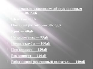 Минимально улавливаемый звук здоровым ухом — 10-15дБ Шепот — 20дБ Обычный раз