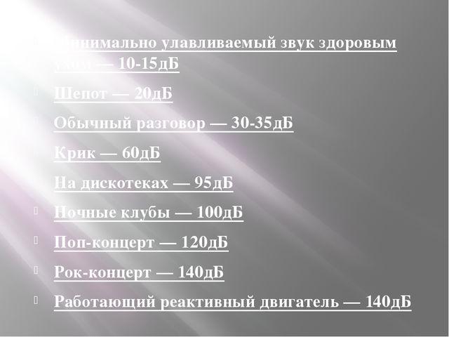 Минимально улавливаемый звук здоровым ухом — 10-15дБ Шепот — 20дБ Обычный раз...