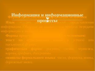 Информация и информационные процессы Формы представления информации человеко