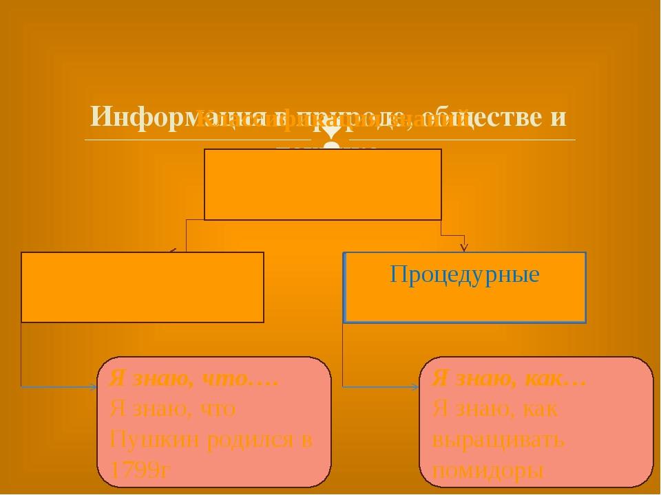 Информация в природе, обществе и технике Классификация знаний Я знаю, что…....