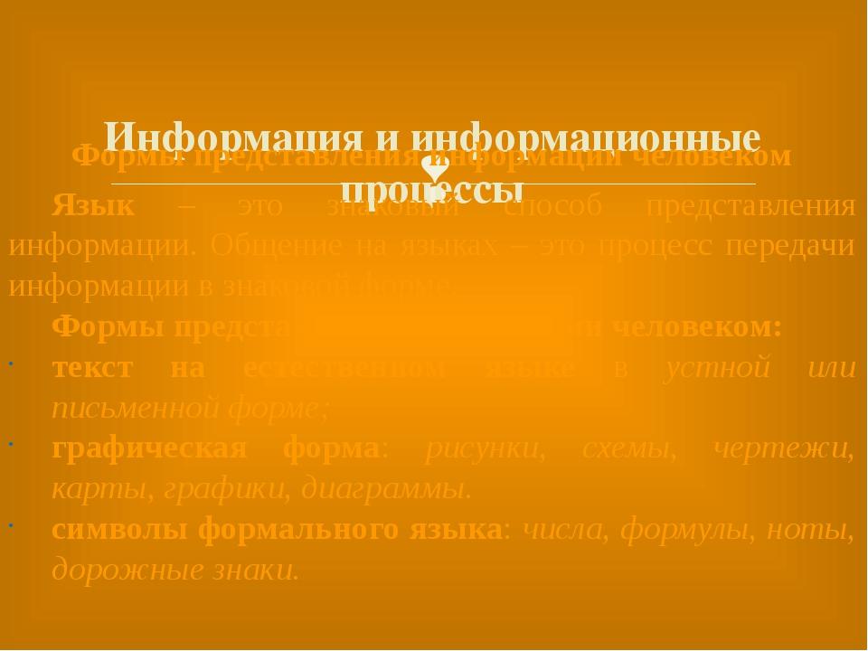 Информация и информационные процессы Формы представления информации человеко...