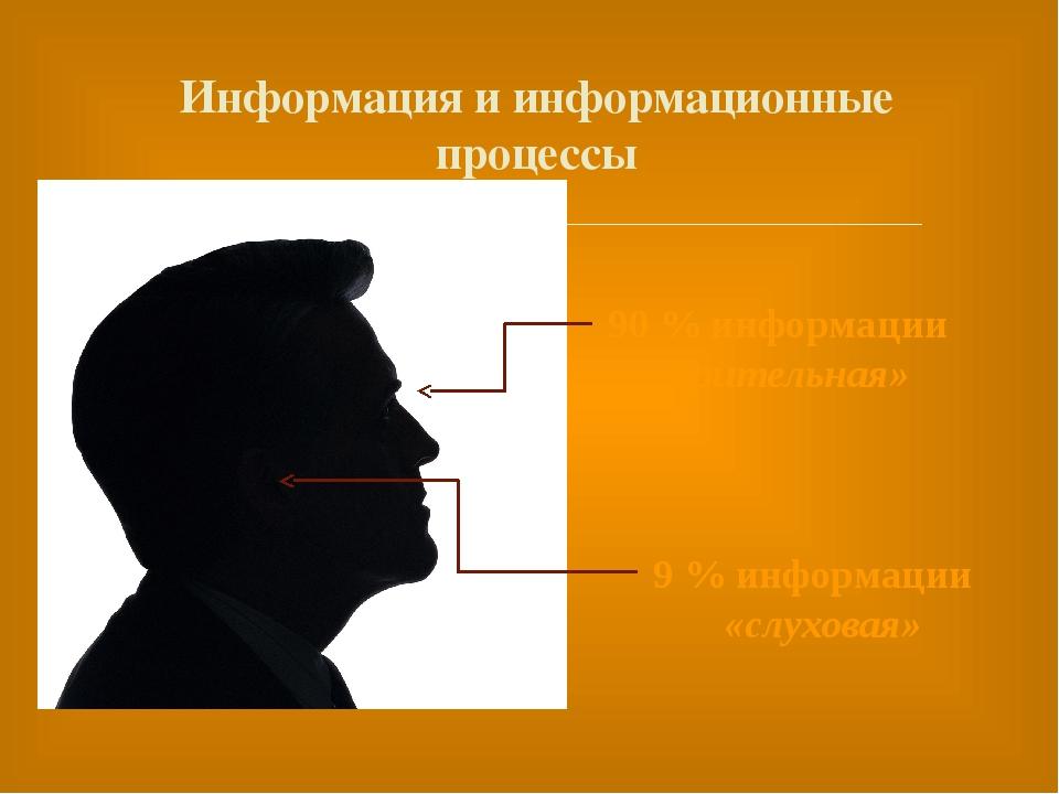 Информация и информационные процессы 90 % информации «зрительная» 9 % инфор...